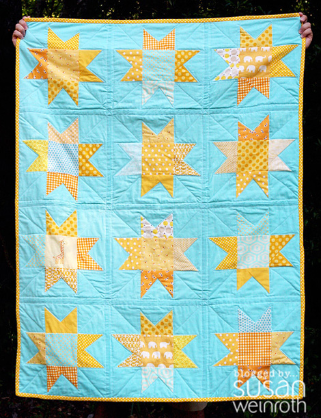 Blog - wonky yellow and aqua stars