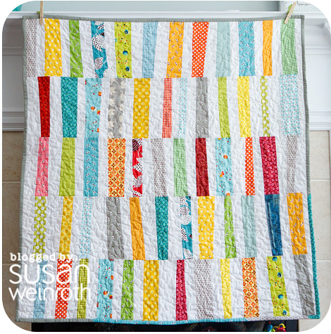 Blog - scrappy stripes baby quilt