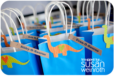 Noah's DINO-ROAR Party - favor bags detail