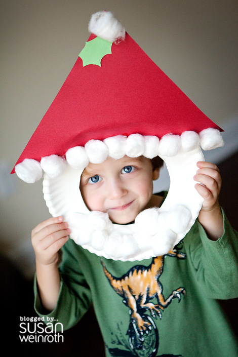 Paper Plate Santa Masks Kids Christmas Craft | Susan Weinroth