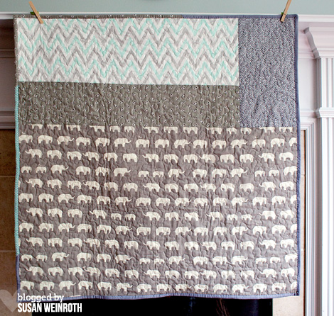 Aqua Elephants Baby Quilt backing - Susan Weinroth