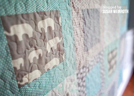 Aqua Elephants Baby Quilt detail 1 - Susan Weinroth