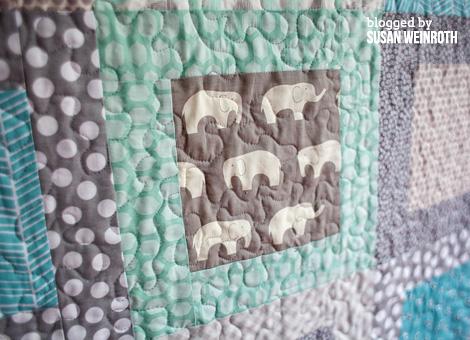 Aqua Elephants Baby Quilt detail 2 - Susan Weinroth