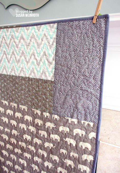 Aqua Elephants Baby Quilt backing 2 - Susan Weinroth