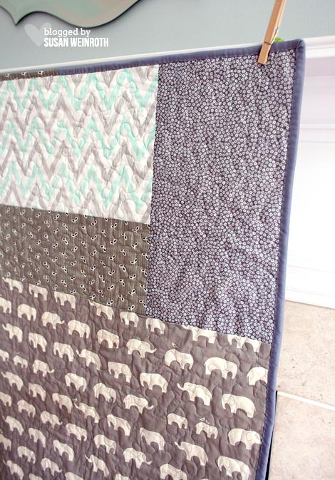a little bit of me.: {Aqua Elephants - A Modern Baby Quilt} : baby quilt backing - Adamdwight.com