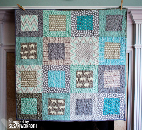 Aqua Elephants Baby Quilt2 - Susan Weinroth