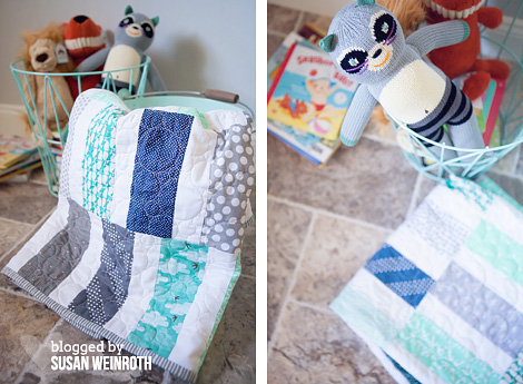 Scrappy Seaside Quilt - DETAIL and BLA BLA BANDIT - by Susan Weinroth